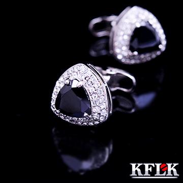 Kflk luxo 2014 nova shirt abotoaduras para mens marca manguito botões de cristal abotoadura de alta qualidade preto abotoaduras jóias(China (Mainland))