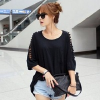 2014 new Korean Women loose bat sleeve hollow out sleeve autumn casual t-shirts ladies fall Tee tops RKD24369
