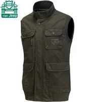NianJeep Outdoor Brand Real Men Sports Cotton Vests 2015,Wholesale Price Man's 100% Cotton Cargo Sleeveless Jackets,Khaki/Army