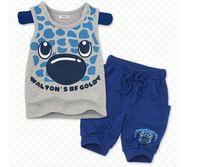 children clothing 100% pure cotton grey pattern vest blue color 7 minutes of pants boys clothing sets