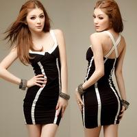 Women's Sexy Black&White Tight Vertical Club Striped Dress Back Crossed Shoulder Straps Slim Mini Clubwear Bandage Dresses*D78