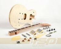 Solid Body Paulownia DIY Electric Guitar Builder Kit Flamed Maple Veneer
