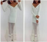 Women Sexy Voile Sheer Casual Dresses V Neck White Maxi vestidos femininos Longa Party Celebrity Brand de festa roupas femininas