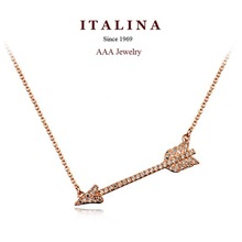Top Quality Gold Plated Cubic Zircon Paved Fashion Cupid Arrow Short Necklace Best Gift Jewelry for Women