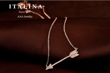 Top Quality Gold Plated Cubic Zircon Paved Fashion Cupid Arrow Short Necklace Best Gift Jewelry for