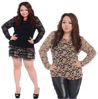 grande Tops Camiseta de manga larga superior Tees Fat Mujeres Ropa Grandes Blusas 2014 Nueva Moda blusas