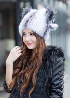 2014 girl  cute cap women fashion winter hat elegant  beanie  100% genuine  mink fur  warm free shipping