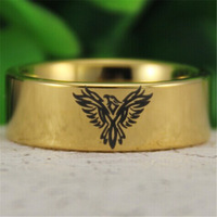 Free Shipping USA UK Canada Russia Brazil Hot Sales 8MM 18K Golden Pipe Military Army Phoenix Design Men's Tungsten Wedding Ring
