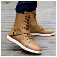 Amur Men Winter Martin Boots high-top shoes Western Warm Rubber Sole PU Pantent  Leather