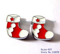 50pcs 8mm Christmas sock Zinc alloy slide charm can come through 8mm band fit wristband pet collar and key chain