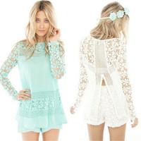 Fashion New Women Lace Crochet Blouse Solid Color White / Sky Blue Long Sleeve O-Neck Chiffon Blouse Hot Women Blouse Tops E5157