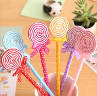 2014 Fashion Cute Bow Lollipop Ballpoint Pen Valentine's Day Gift Student Pens Prize 12pcs