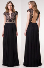 2014 hot selling sexy women deep v-neck backless lace stitching sleeveless maxi dress lace short sleevev party dresses