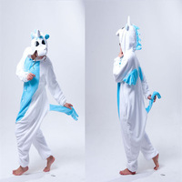 Blue Unicorn Animal Costume For Halloween Carnival Party Christmas Adult Onesie Jumpsuit (slipper not included)