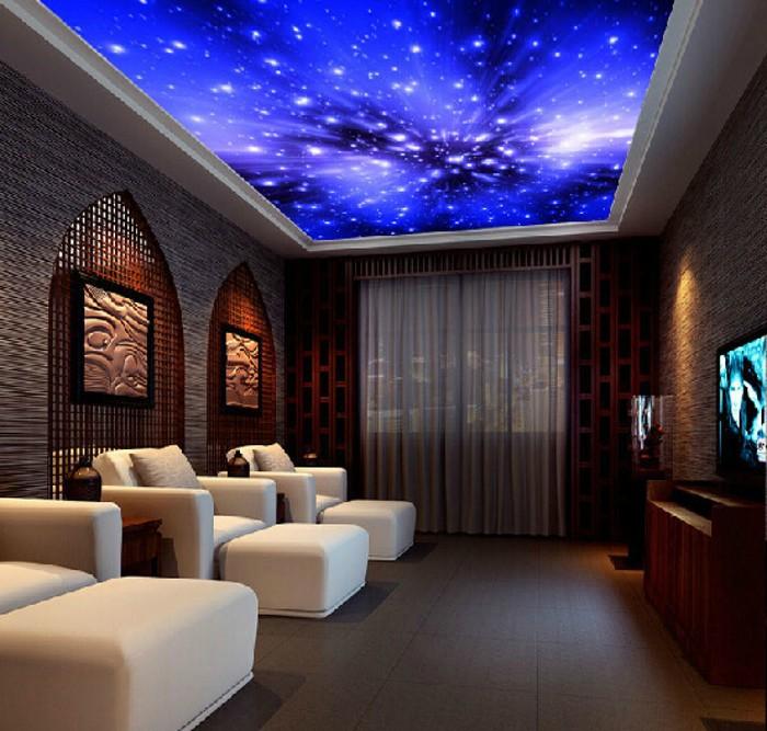 Living room ceiling blue wallpaper ktv parlor fantasy - Blue wallpaper living room ...