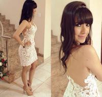 New 20142015 Women Crochet Lace Dress V-Neck Backless Mini Party Dress White Sexy Bodycon Vestido De Festa Renda Patchwork Sheer