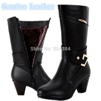 2014  genuine leather women boots,casual medium-leg winter boots, Snow boots cotton-padded shoes free shipping