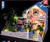 Christmas Gift Wooden Dollhouse Miniature DIY House Model blocks educational toys