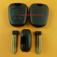 Free shipping free Peugeot 2 button remote key blank With key blade (No Logo), Peugeot key shell