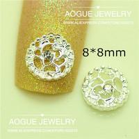 3D alloy clear rhinestone rose flower nail art 20pcs/lot