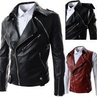 Drop Shipping Man Biker Jacket PU Leather Jacket Removable Sleeves Design Winter Jacket For Men Clothes Slim Fit Coat W342