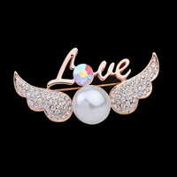 New 2015 Luxury Crystal Pearl Brooch Pins 18K Rose Gold Plated LOVE Angel Wings Pin Brooches Bouquet Women Gifts