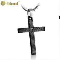 Bahamut titanium steel jewelry  The Catholic Divine Verses Cross Pendants Men's Necklace Free shipping