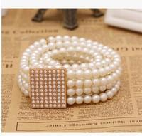 2014 women's fashion wild elegant pearl beaded belt decorated elastic waistband tie