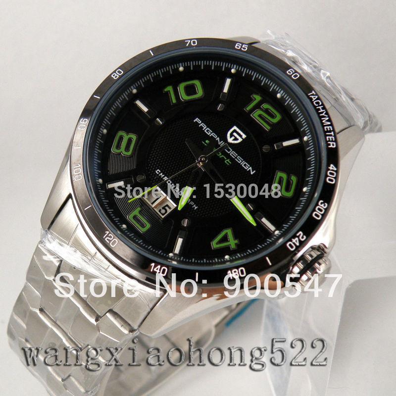 Los detalles acerca de 42 mm PAGANI cuarzo verdes esfera de color negro fecha marca taquímetro reloj de hombre N028(China (Mainland))