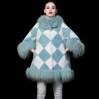 Free shipping Rex Rabbit Fur Woman Outwear Coat with Raccoon Dog Fur Collar Luxury womens winter jackets chaquetones de mujer