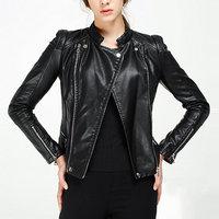 2015 High Street Locomotive Suit Lady New Autumn Mandarin Collar PU Leather Jacket Zipper Pocket Fashion Slim motorcycle Coat
