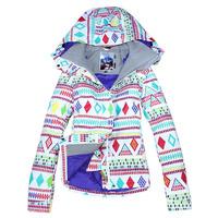 Free Shipping 2014 new women's jacket Gsou snow skiing clothing female monoboard skiing clothing set waterproof thermal ski suit
