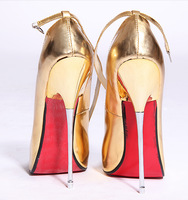 16CM high with fine metal fine with large size shoes pointed fashion new gold shoes