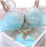 New 2015 beautiful sweet sexy lace young girl cute 32A 34A 36A 32B 34B 36B Fold underwear push up women bra Free shipping