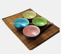 Mix Color Crack Glaze Japanese Bowl Set of 4 Quality 4.5 inch Ceramic Rice Soup Bowls Asian Lifestyle Tableware Gift