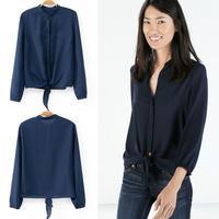 FanShou Free Shipping 2014 New Arrival Spring Summer Casual Shirts Women Long Sleeve Chiffon Blouses Slim Fashion Tops