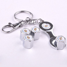 Free shipping Car Wheel Airtight Tire/Tyre Valve Caps with Mini Wrench & Keychain for Cadillac (4-Piece/Pack)(China (Mainland))
