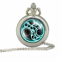 Vintage Doctor Who tardis silver Pocket Watch 1pcs/lot mens quartz steampunk Dr Who masters locket necklace Timelord Seal pedant