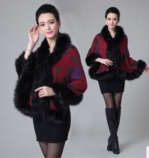 Winter new Korean Women temperament printing knitted cape fur shawl(China (Mainland))