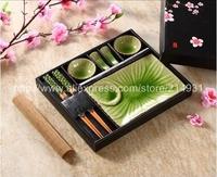Japanese Ice Crackle Glaze Sushi Dinner Set for Two Green Color Including Rectangle Plate Soya Sauce Dishes Chopstiks Rest