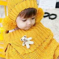 2015 Unisex Fotografia Photography Props Autumn And Winter Bear Child Baby Cap Sleeve Yarn Scarf Muffler Cape Cloak Twinset Hat