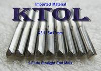 HIGH-CLASS 1/8'' x17mm Two Flute Straight Bit CNC Carbide Endmill Cutter Wood Router Tools,10pcs Slot Cutter MDF End Mill Set