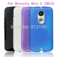 Free Shipping 10Pcs/lot S Line Soft Gel TPU Silicone Case Skin Cover For Motorola Moto X (2014) X2 X+1(2nd Gen.) XT1097 Mobile