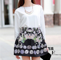 2014 New Womens vogue fashion skirts mini skirt Princess skirt casual girl skirt fashion cute ball gown print flower