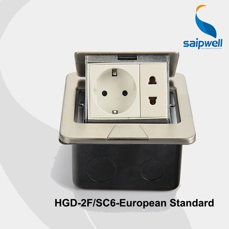 Saip/Saipwell European Standard Ground Socket 220V 16A Pop Stain Steel Electrical Floor/Table Socket (SPD-2F/SC6)(China (Mainland))