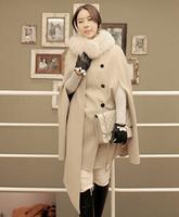 fourrure 2014 autumn and winter new Korean temperament double-breasted wool cape coat woolen coat female