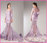 Vestidos Light Lavender Sweetheart Sheer Long Sleeve Sexy See Through Mermaid Long Formal Prom Evening Dress 2015