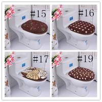 Fashion Winter Jacquard thickening bathroom brown coffee series two-piece toilet seat set HD0243