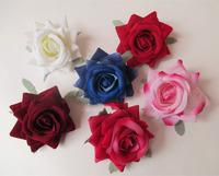 6CM Roll rose velvet edges simulation artificial rose flower head decoration flower compact