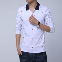 Fall 2014 new business casual men's long sleeve POLO shirt embroidered big yards